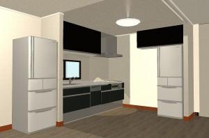 M様 キッチン3Dパース